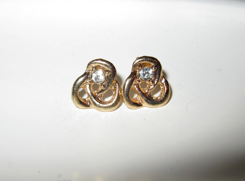 Beautiful & Elegant Gold CZ Lover�s Knot Pierced Earrings New #X150