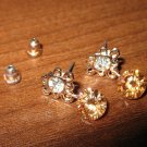 Beautiful Peach Rhinestone Pierced Dangle Earrings NEW! #D422