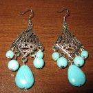 Beautiful Silver Turquoise Chandelier Pierced Earrings NEW! #D421