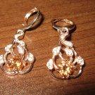 Gorgeous Peach Topaz Gold Teardrop Pierced Earrings Beautiful & New #D448