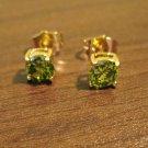Dainty Green Peridot Stud Pierced Earrings Beautiful & New #D451