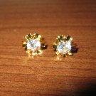 Brilliant Diamond Starburst Stud Pierced Earrings Beautiful & New #D458
