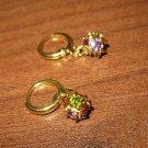 Chic Multi Colored Sapphire & Peridot Disco Ball Pierced Earrings New #462