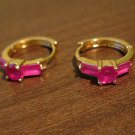 Lovely Red Ruby Ring Style Pierced Earrings Beautiful & New #D463
