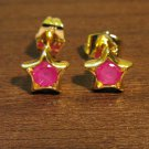 Stunning Red Ruby Star Stud Pierced Earrings Beautiful & New #D464
