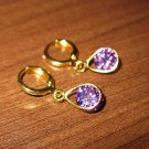 Sparkling Purple Amethyst Teardrop Pierced Earrings New #D466