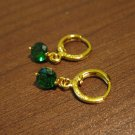 Lush Green Emerald Dangle Pierced Earrings New #D469