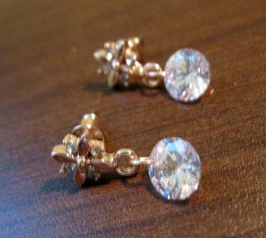 Stunning Diamond Flower Dangle Pierced Earrings Beautiful & New #D476