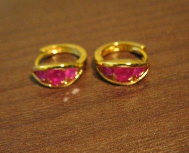 Rich Triple Red Ruby Hoop Pierced Earrings Beautiful & New #D482