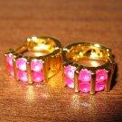 Elegant Red Six Ruby Hoop Pierced Earrings Beautiful & New #D483