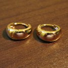 Chic Highly Polished Gold Hoop Pierced Earrings Beautiful & New #D485