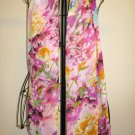 Beautiful Purple & Yellow Sheer Floral Print Neck Scarf New! #D535