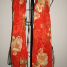 Beautiful Red with Tan Flowered Sheer Neck Scarf New! #D545