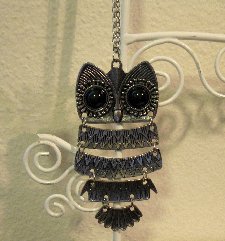 Pretty Black Onyx Owl Necklace New! #D521