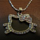 Dazzling Pink Sapphire & CZ Hello Kitty Face Necklace & Pendant NEW! #D595