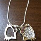 Adorable Pink Sapphire & CZ Double Hello Kitty Charm Necklace & Pendant #D599