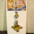 Belly Navel Ring Body Piercing Yellow Citrine & CZ Heart #D506