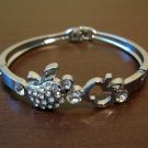 Sparkling Silver Diamond Apple Bangle Bracelet New #D514