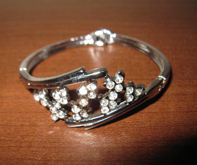 Brilliant Silver Diamond Spray Bangle Bracelet New #D515