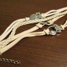 Beige Leather 4 Layer Unisex Owl Charm Punk Bracelet New #D490
