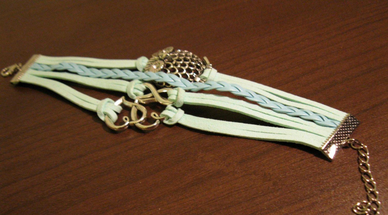 Green 4 Layer Leather Heart Infinity & Owl Charm Punk Bracelet New #D498