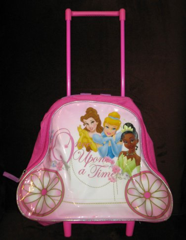 Disney Princess Rolling Backpack Luggage With Telescopic Handle Nice! #X195