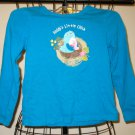 "Peacock Blue ""Daddy's Little Chick"" Top by WonderKidsSize 5T Nice! #X186"