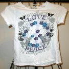 Adorable White Love/Peace Logo Top by LEI Size XS (4-5) Nice! #X185