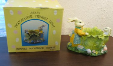 Collectible Resin Bunnies W/Cabbage Decorative Trinket Dish (18279) Nice #T1010