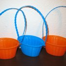 Set of 3 Small Stacking Easter Baskets in Colors Orange & Blue Nice! #T1014