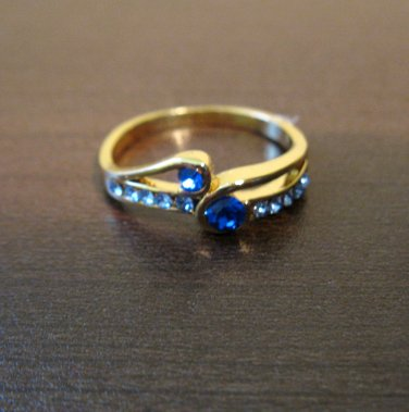 Gorgeous Gold Blue Sapphire Ring Size 7 NEW! #D557A