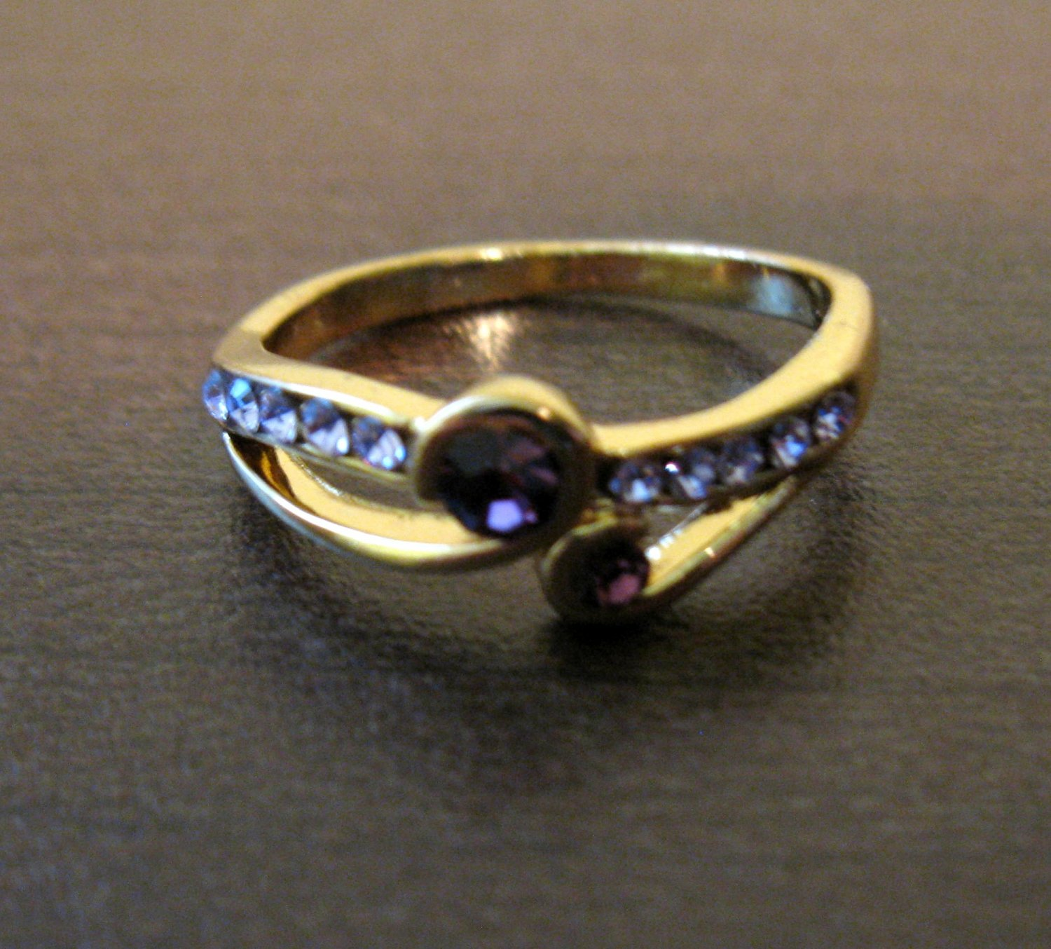 Gorgeous Gold Purple Amethyst Ring Size 7 NEW! #D557B