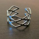 Beautiful Silver Diamond Cut Adjustable Ring Size 8 NEW! #D556F