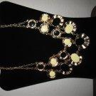 Stylish Large Chunky Bib Black & Cream Round Stone Necklace New & Hot! #D646