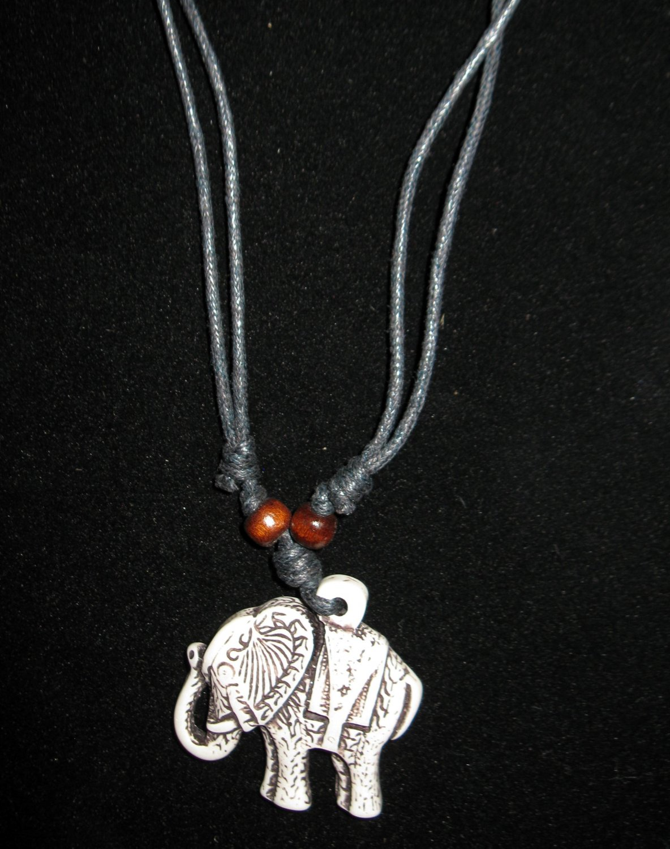 Elephant Yak Bone Necklace with Black Adjustable Cord Unisex New & Hot! #D670