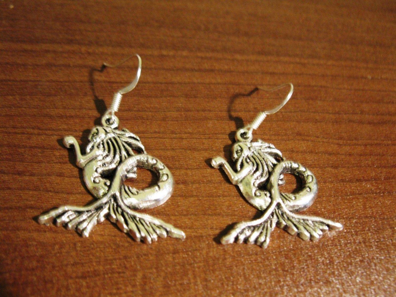 Earrings Pierced Tibetan Silver Mermaid Charm 1.5 in NEW #D627