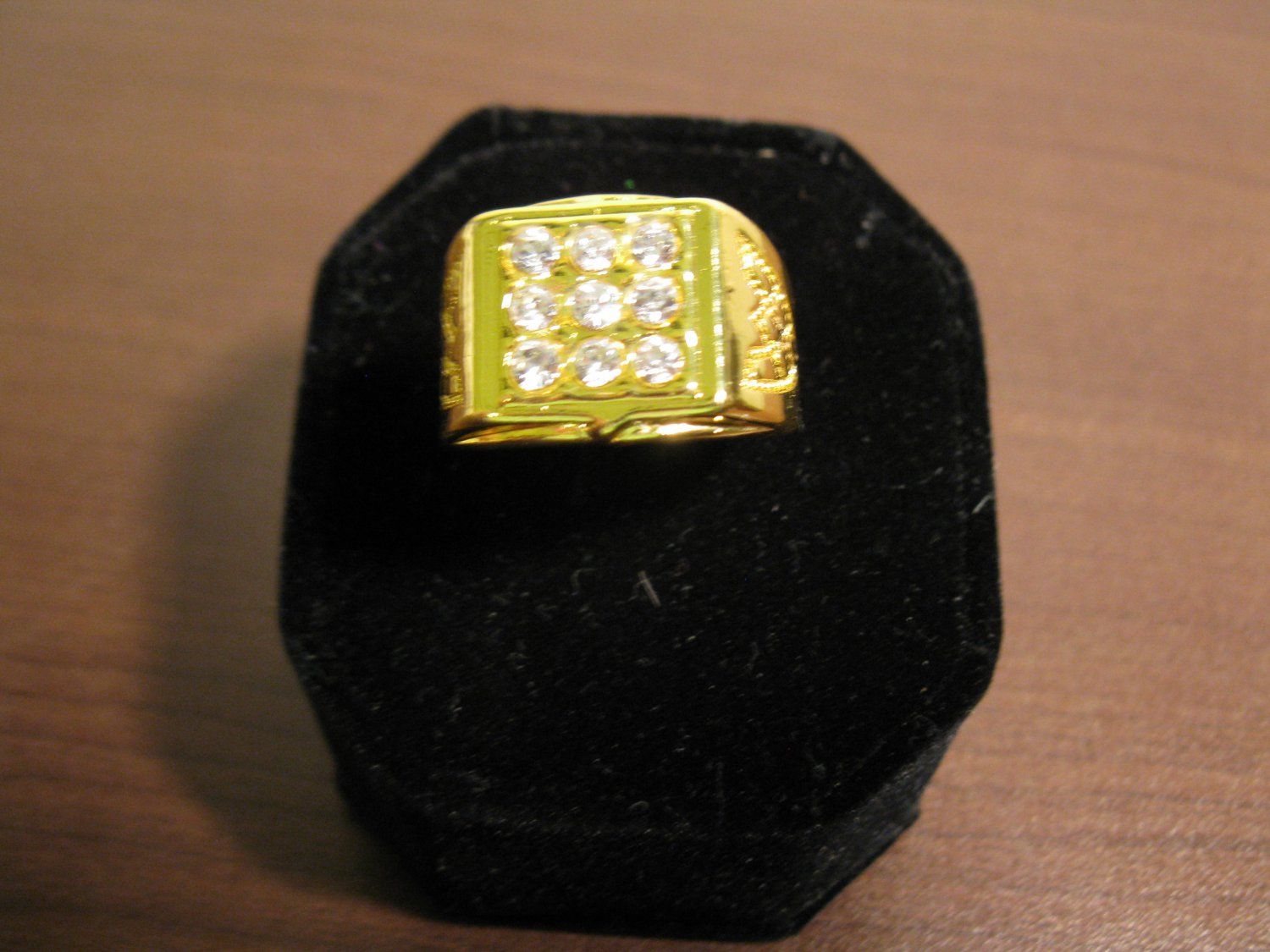 Gold Square Faced 9 CZ Ring Unisex Size 11 New! #D747