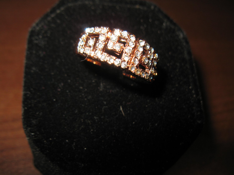 Stunning Gold CZ Greek Key Ring Unisex Size 8 New! #D743
