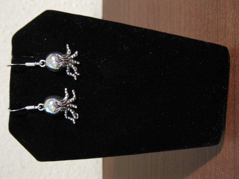 Earrings Tibetan Silver Octopus Charm Pierced Dangle NEW #D804