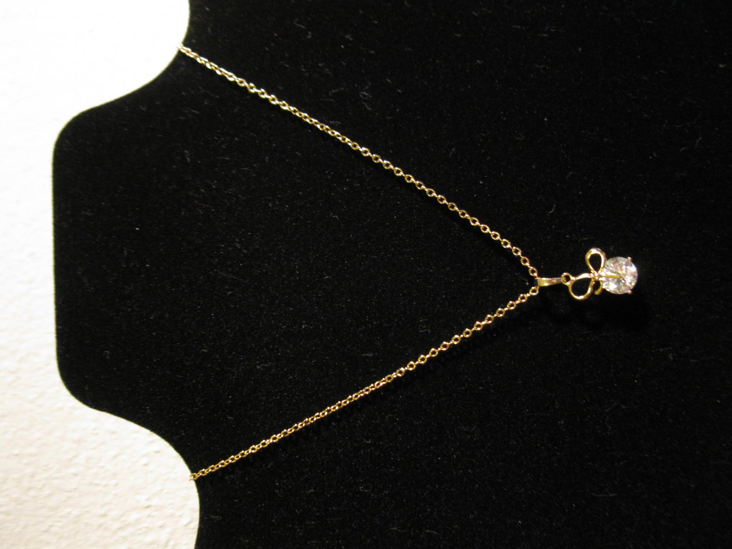 Classy Rose Gold CZ Solitaire Necklace New! #D801