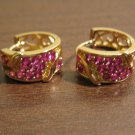 Stunning Red Ruby Huggie Gold Earrings 0.5 in New! #D792