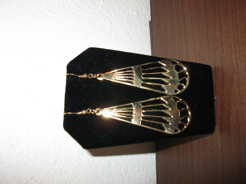 Pretty Gold & Black Teardrop Pierced Earrings 3 in New! #D764