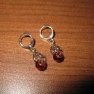 Lovely Gold Ruby Dangle Earrings Beautiful & New #D693