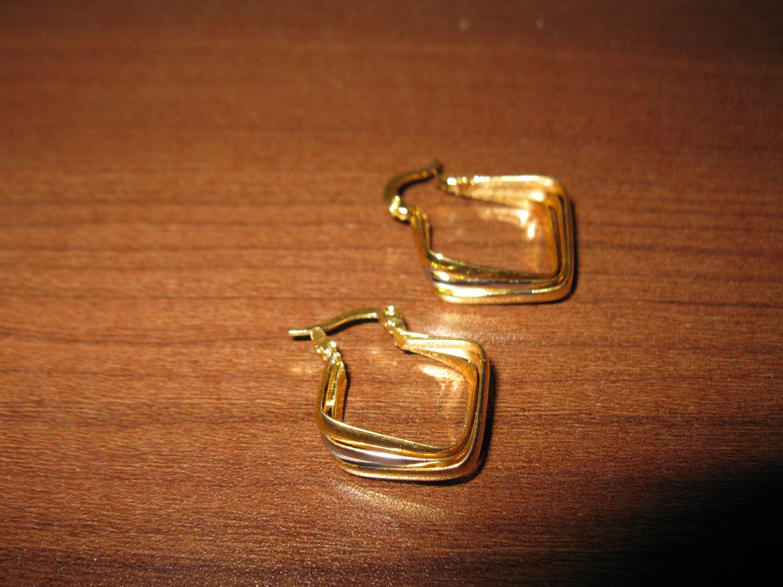Lovely Gold & Silver Hoop Earrings Beautiful & New #D694