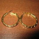 Stylish Polish Gold Hoop Earrings Beautiful & New #D695