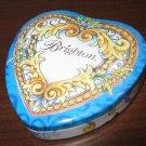 Blue Brighton Empty Tin Heart Trinket Box Very Pretty! #T1033