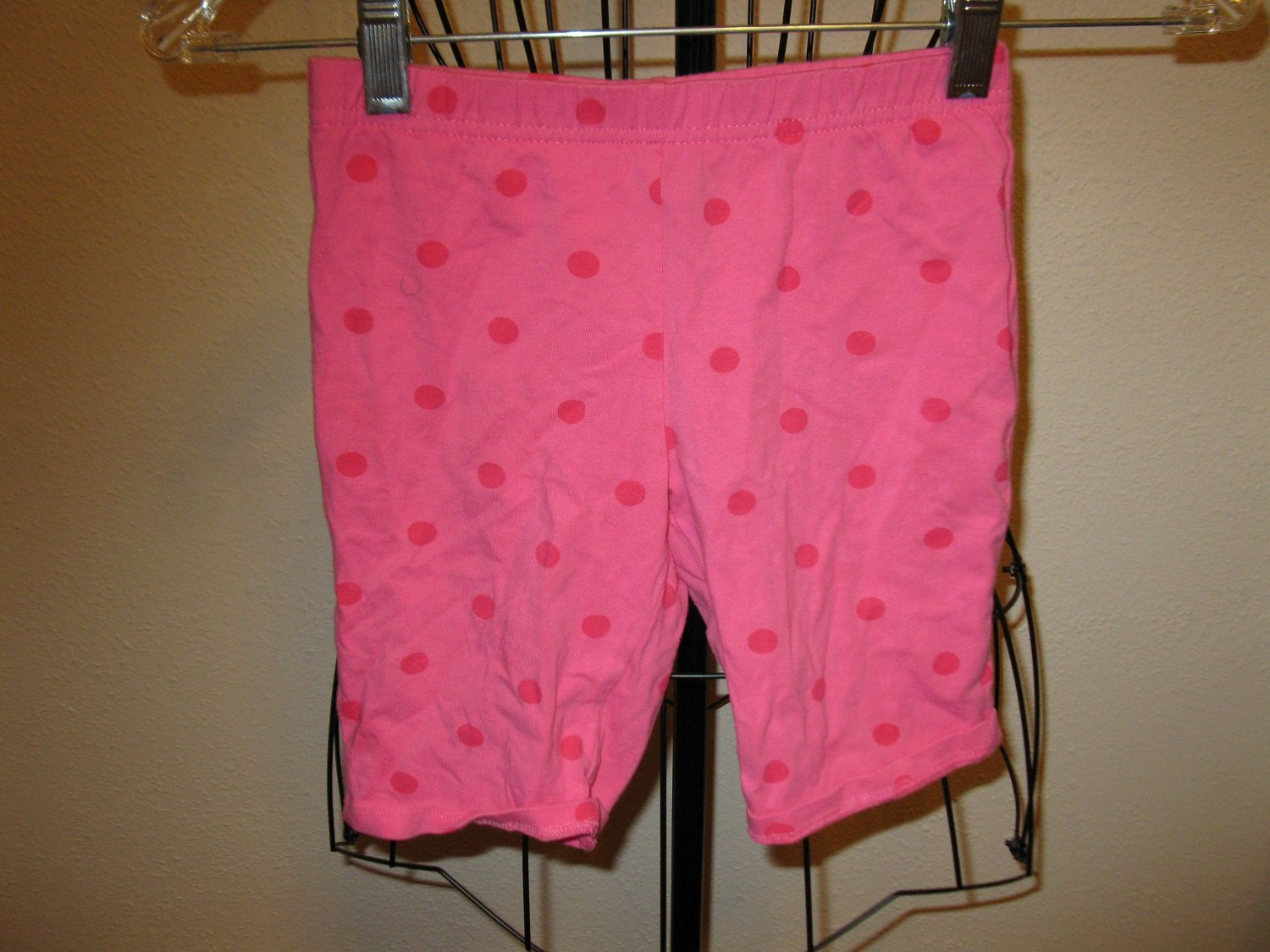 Pink Polka Dot Capri Shorts Girl Child Size M (7-8) Nice! #X257