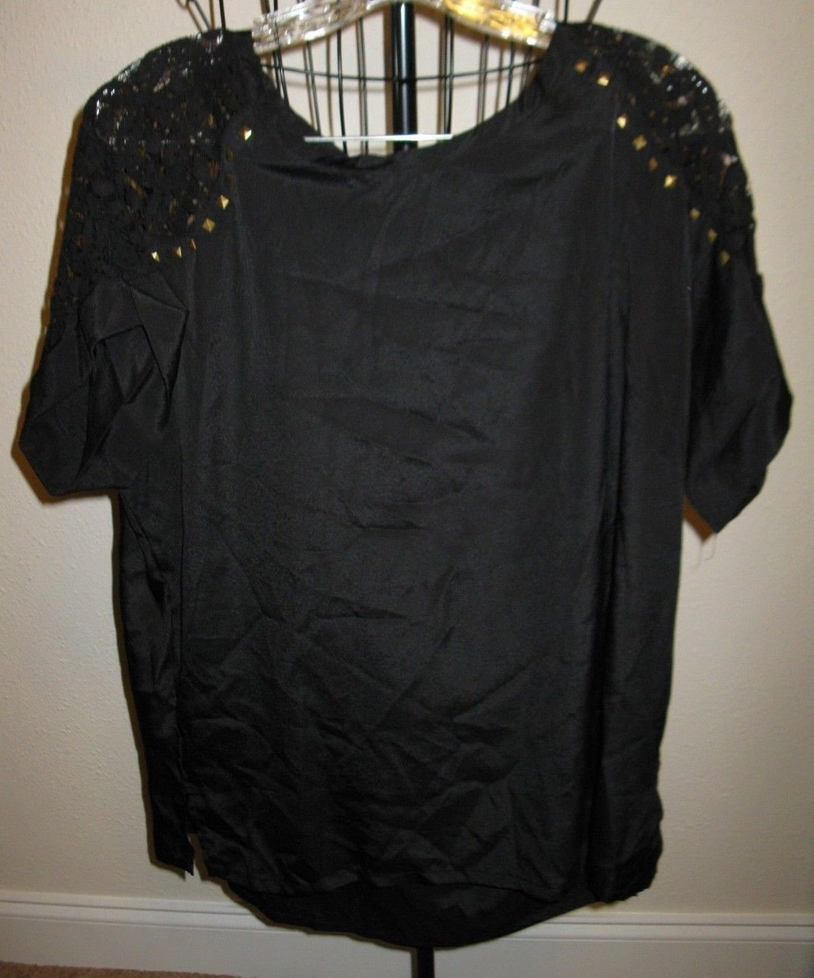 Black Sleeveless Top, Lace Shoulders & Gold Studs by Concepts NY Size XL #X247