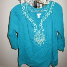 Aqua Blue Old Navy Embroidered Top Size Large Nice! #X239