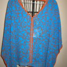 Blue With Orange Trim Miss Tina Top Dolman Sleeves Size 12-14 NEW! #X238